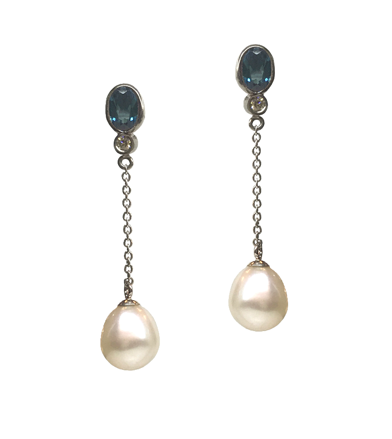 Tourmaline, Diamond & Pearl Earrings