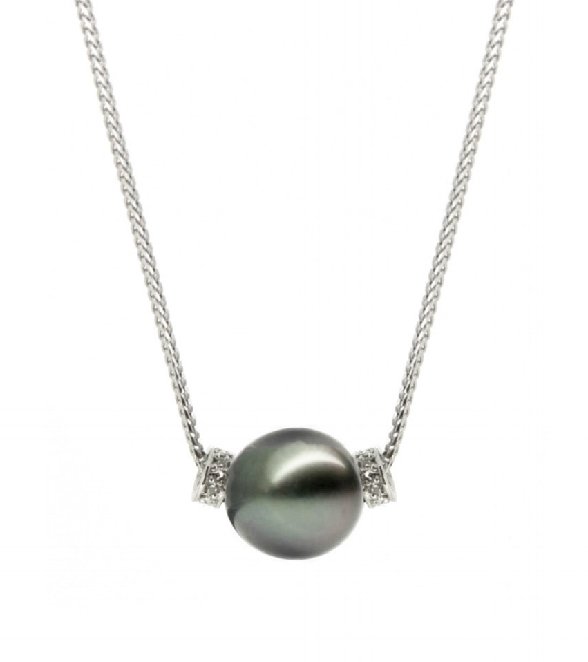 Tahitian Pearl with White Gold Diamond Keepers