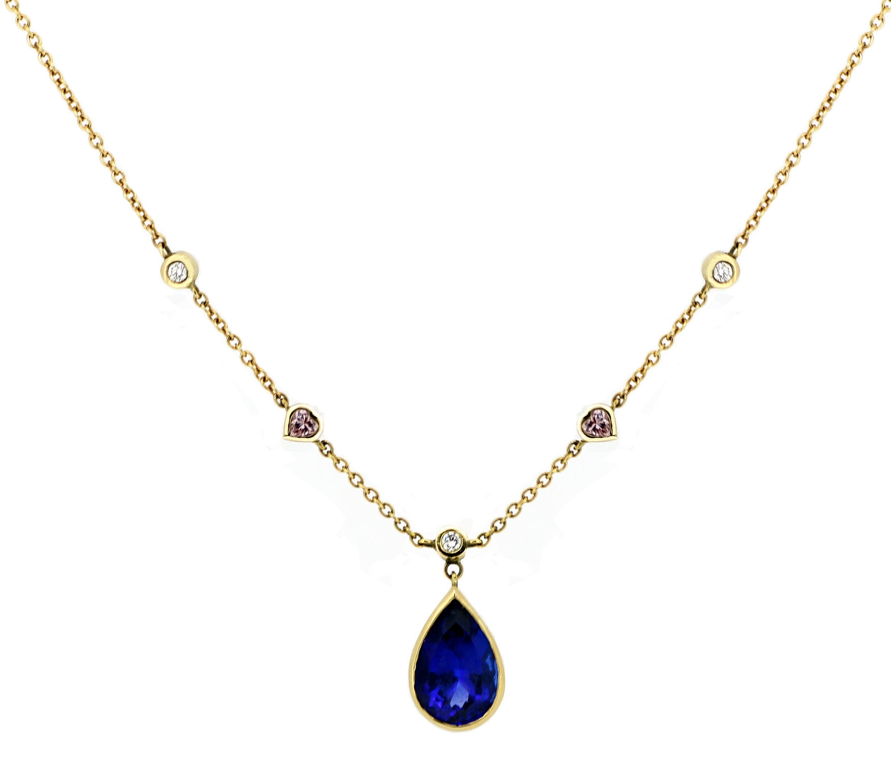 Tanzanite Drop Necklace with Pink & White Diamonds