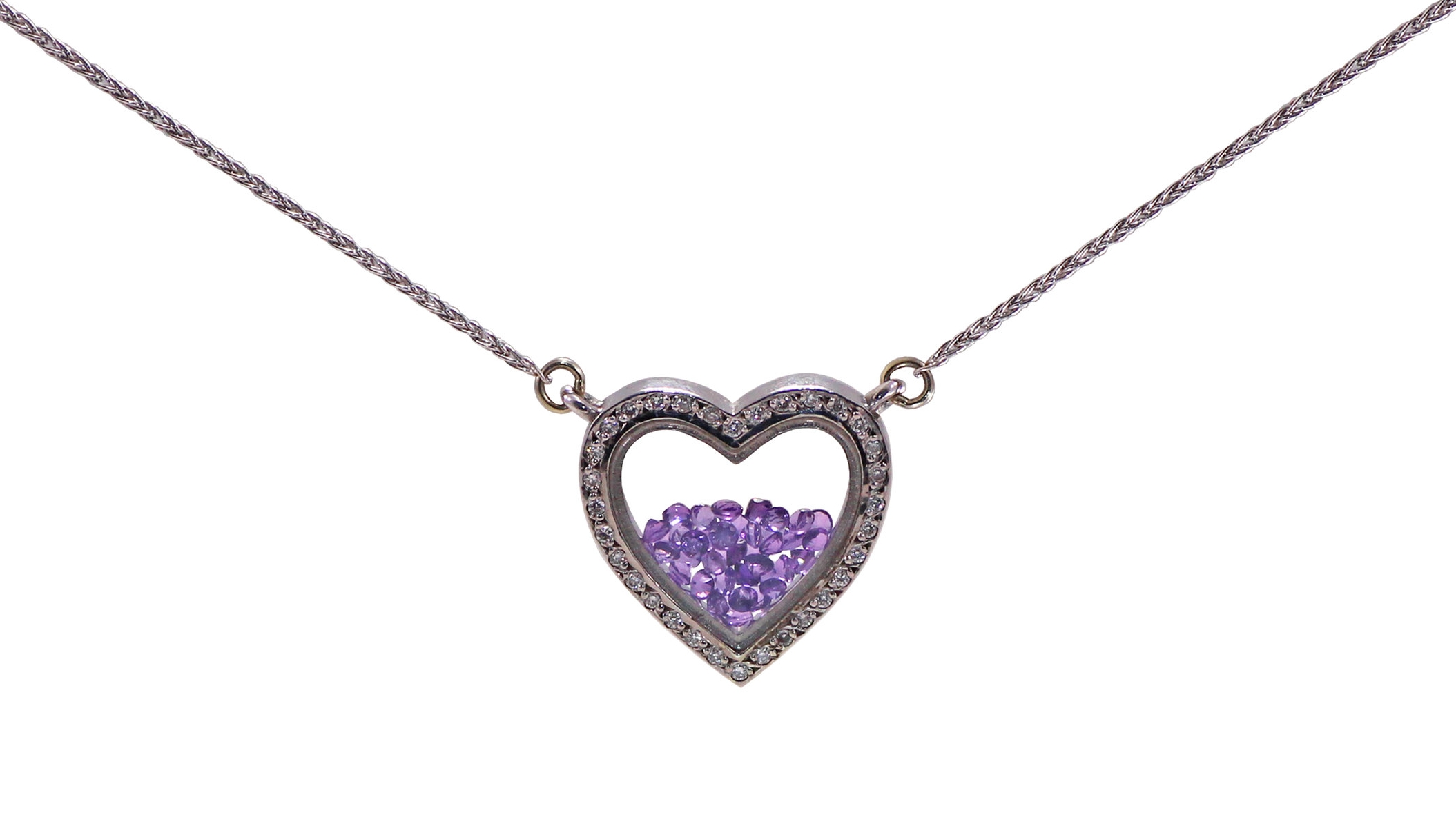 Diamond Heart Pendant filled with Amethysts