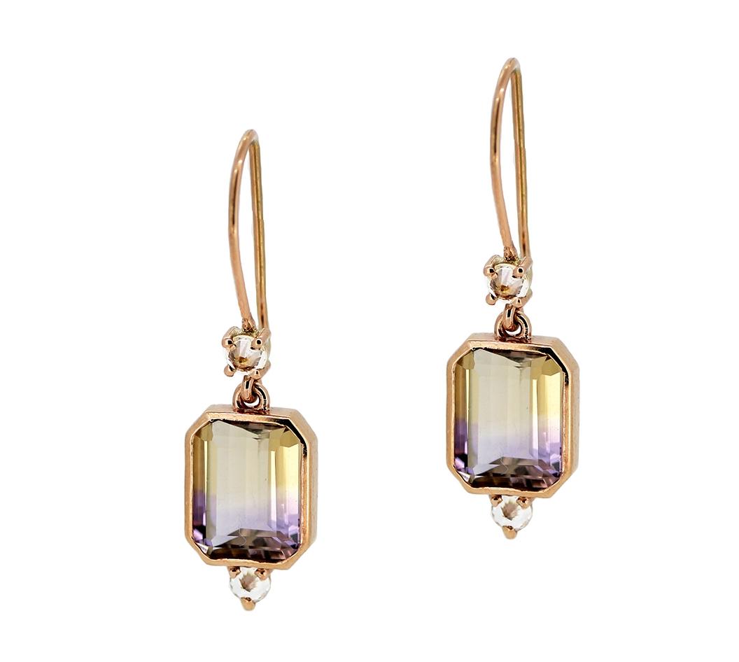 Ametrine & White Sapphire Earrings in Rose Gold