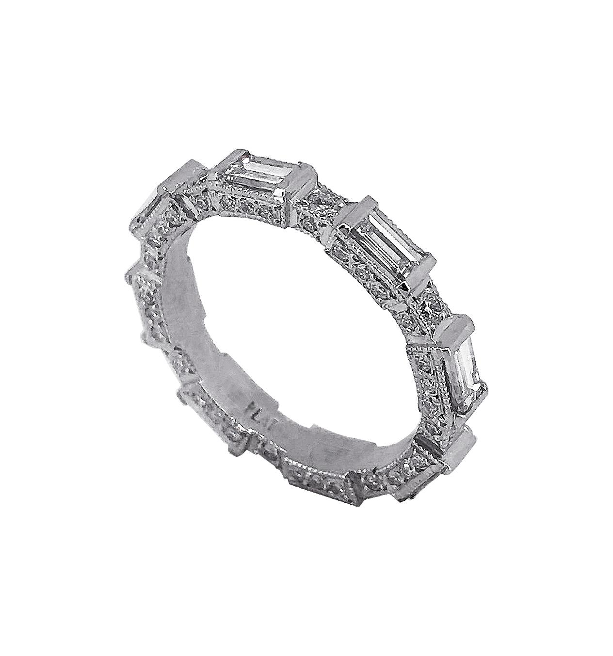 Bespoke Diamond Baguette Wedding Ring in Platinum