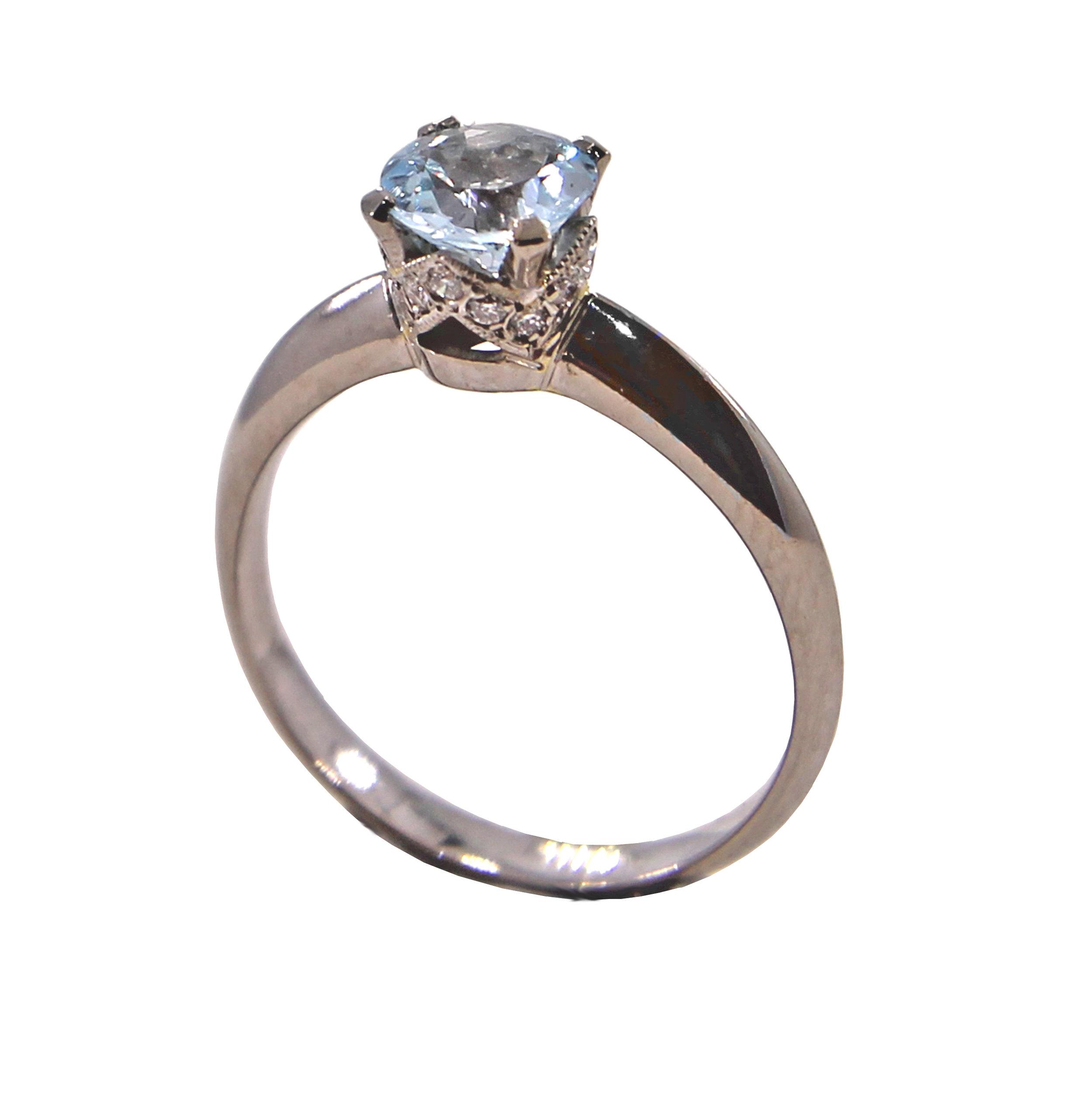 "Aquamarine Solitaire with Diamond ""Crown"" Setting"