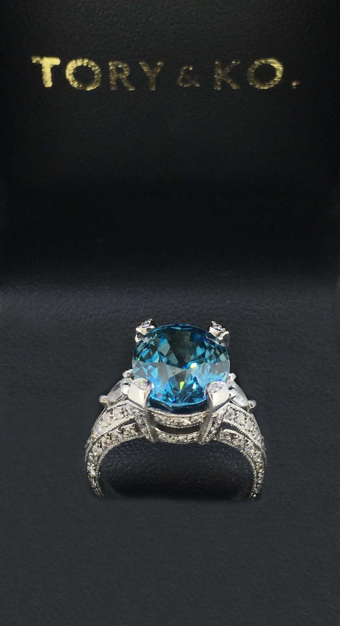 Bespoke Blue Zircon & Diamond Ring