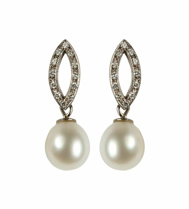 Cultured Pearl and Diamond Earrings in 18ct White Gold.jpg
