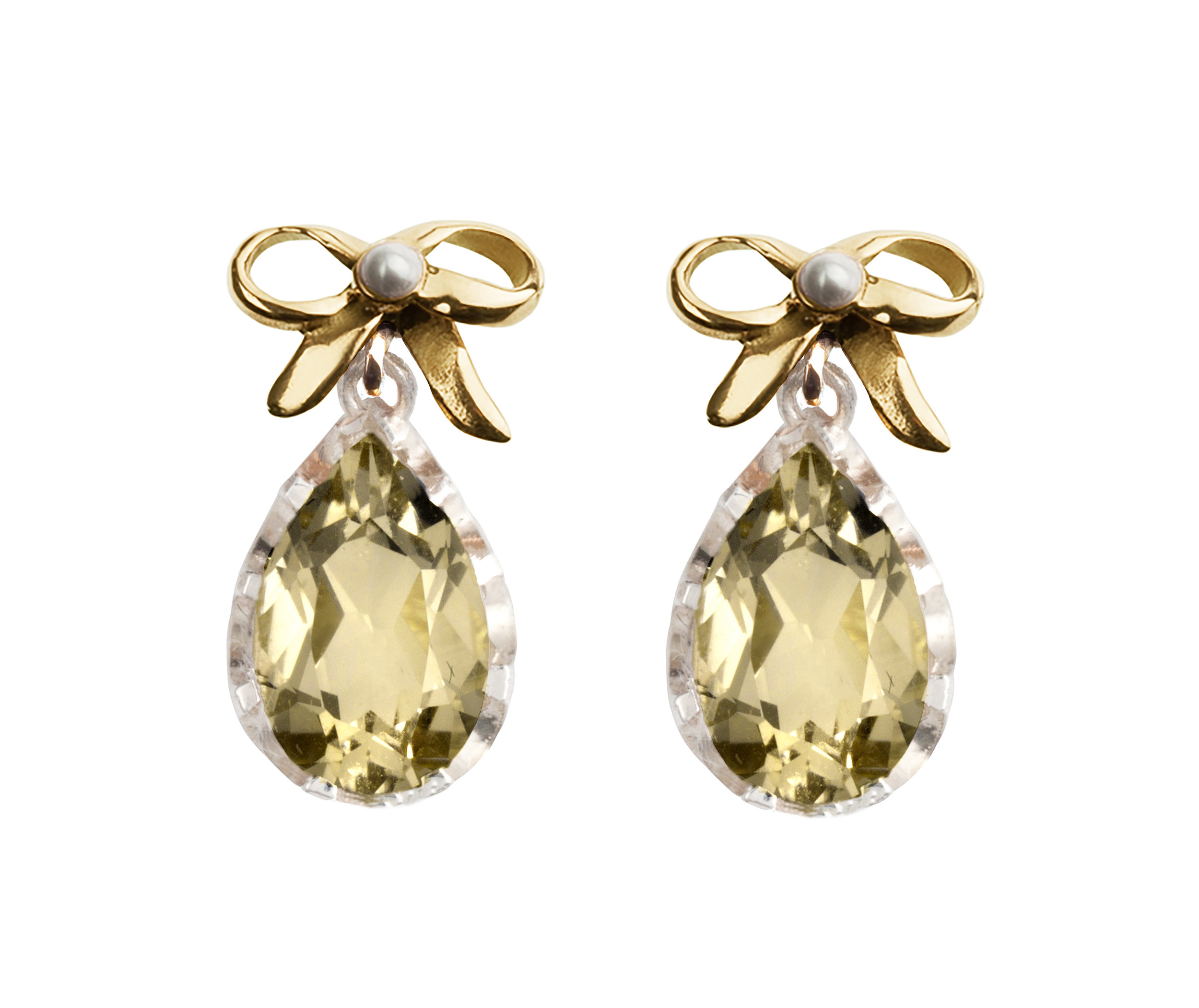 Pretty Collection Bow Earrings Citrine Yellow Gold and Silver with Seed Pearl accents.jpg