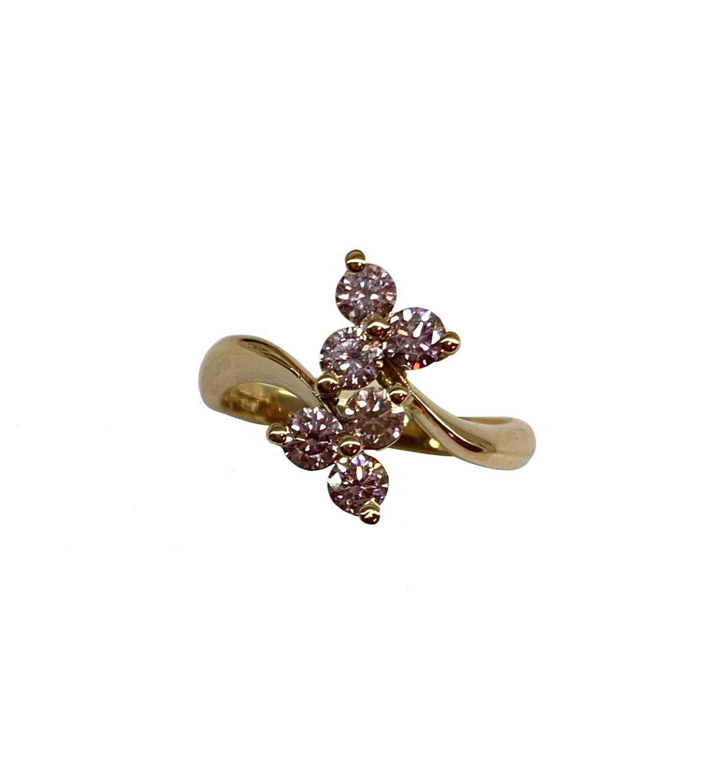 Pink Diamond Flower Ring in 18ct Rose Gold