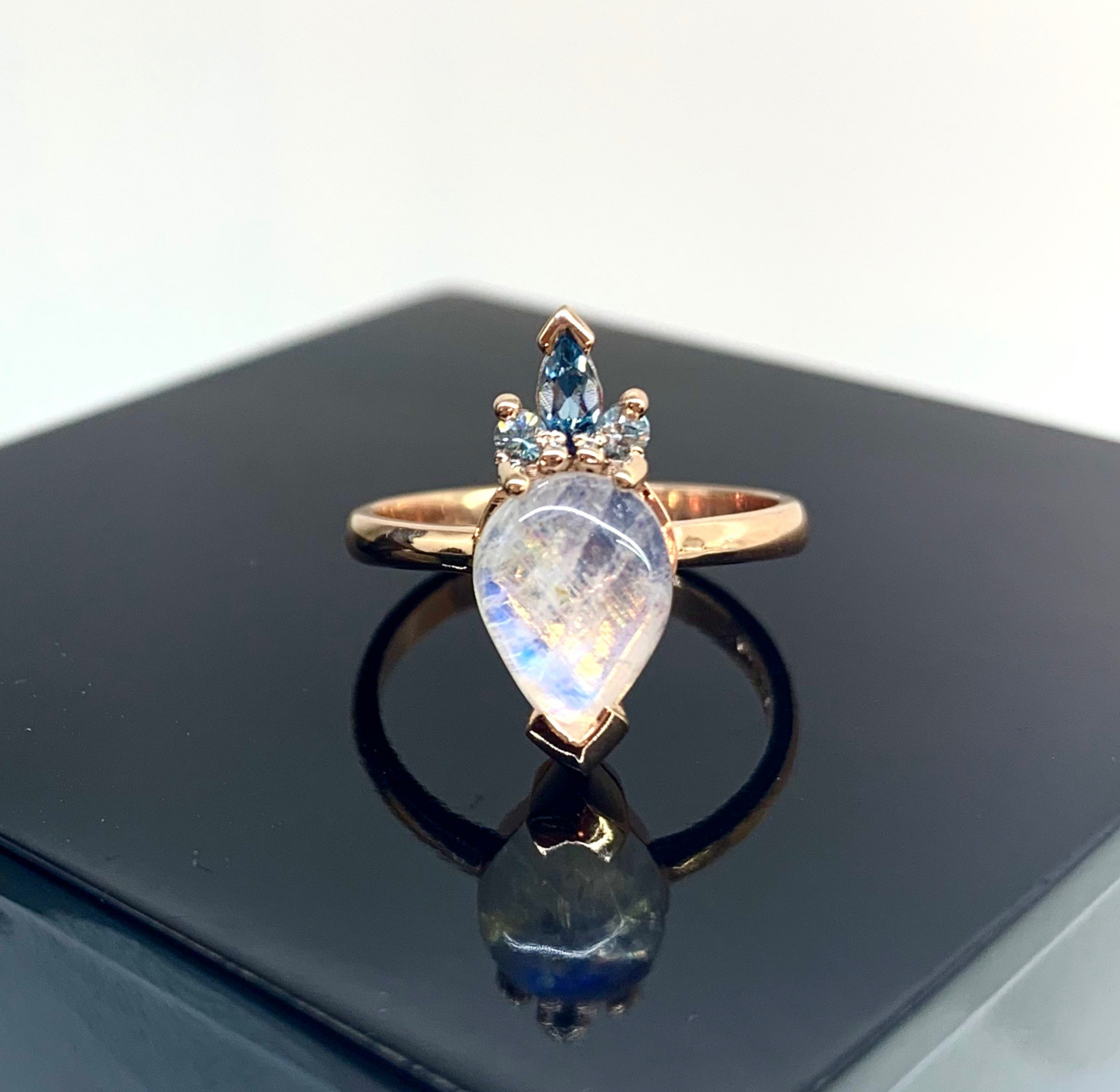 Moonstone and Blue Topaz Ring in Rose Gold