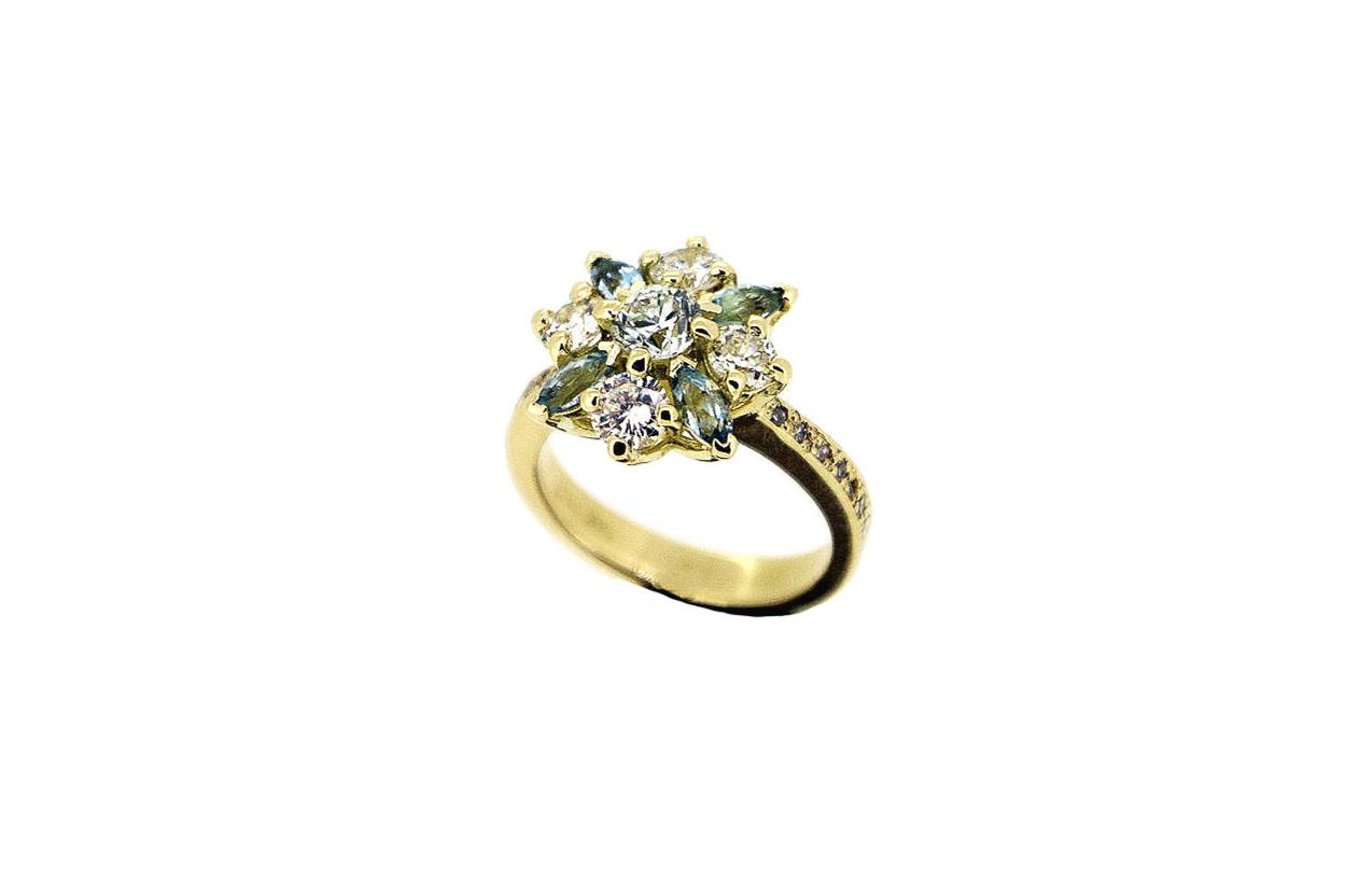 Bespoke Diamond and Aquamarine Ring