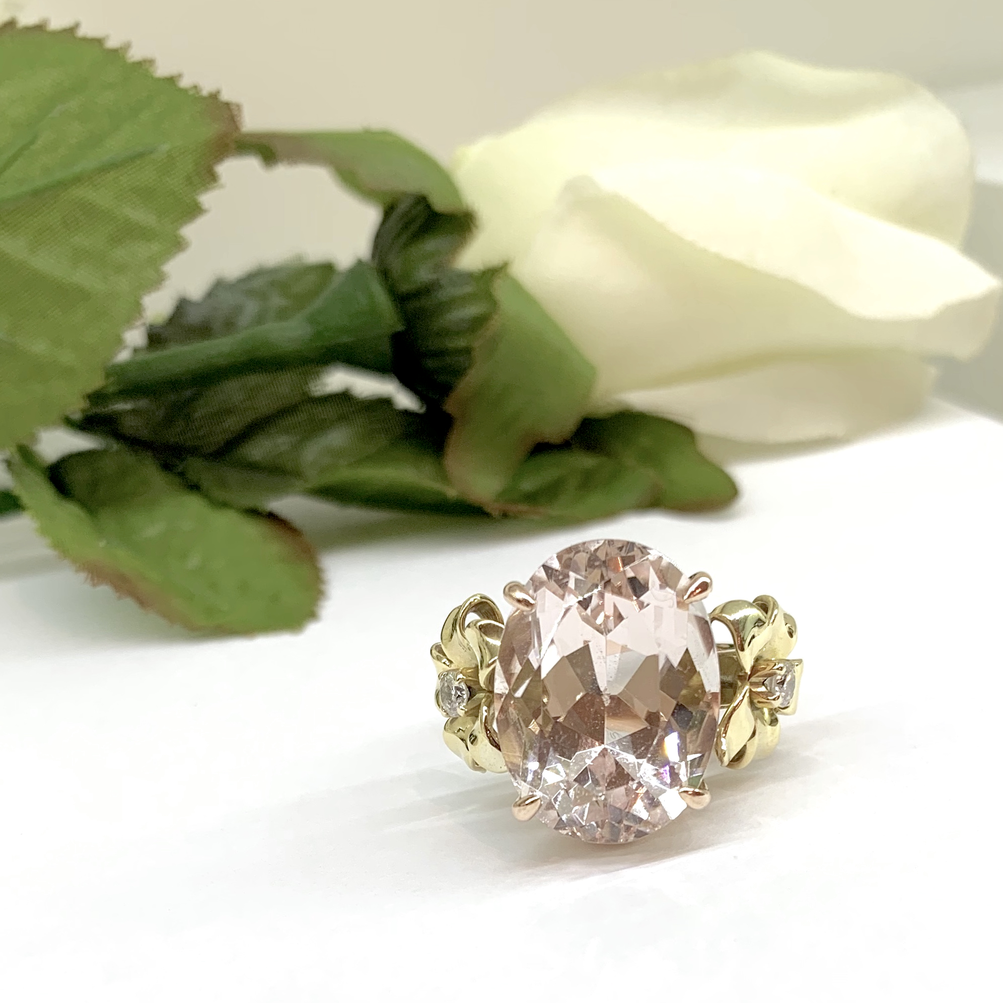Pink Morganite and Diamond Flower Ring in Rose and Yellow Gold