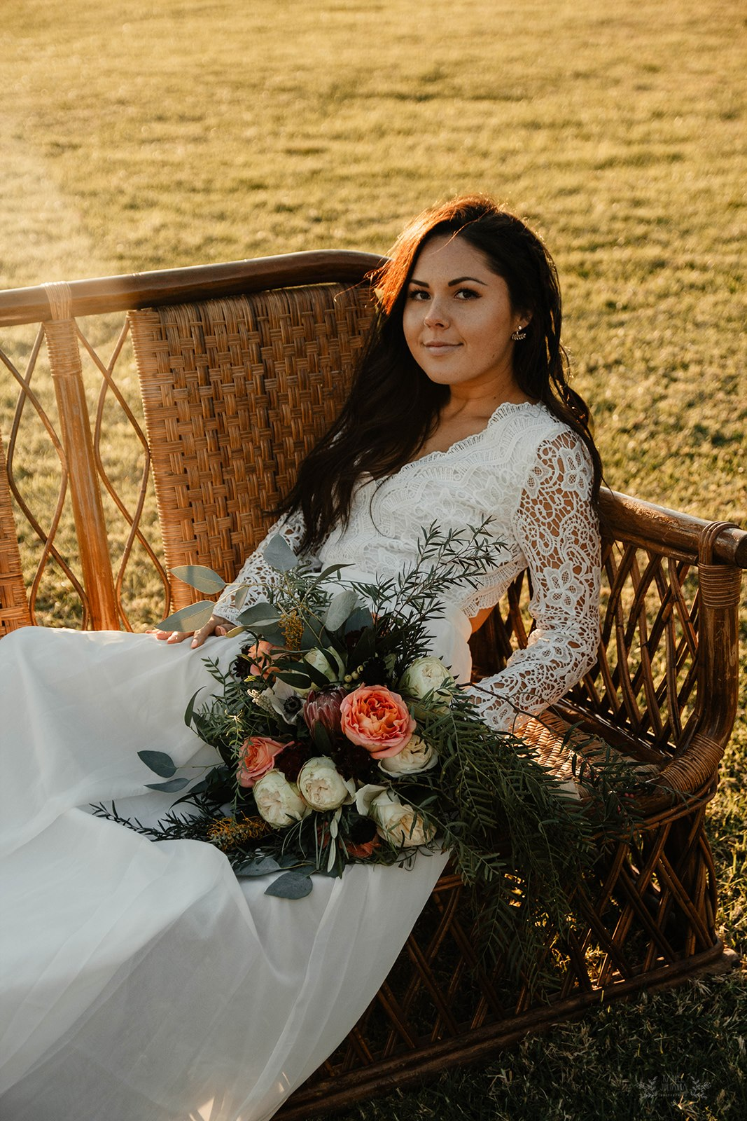 Bride on Wicker Sofa