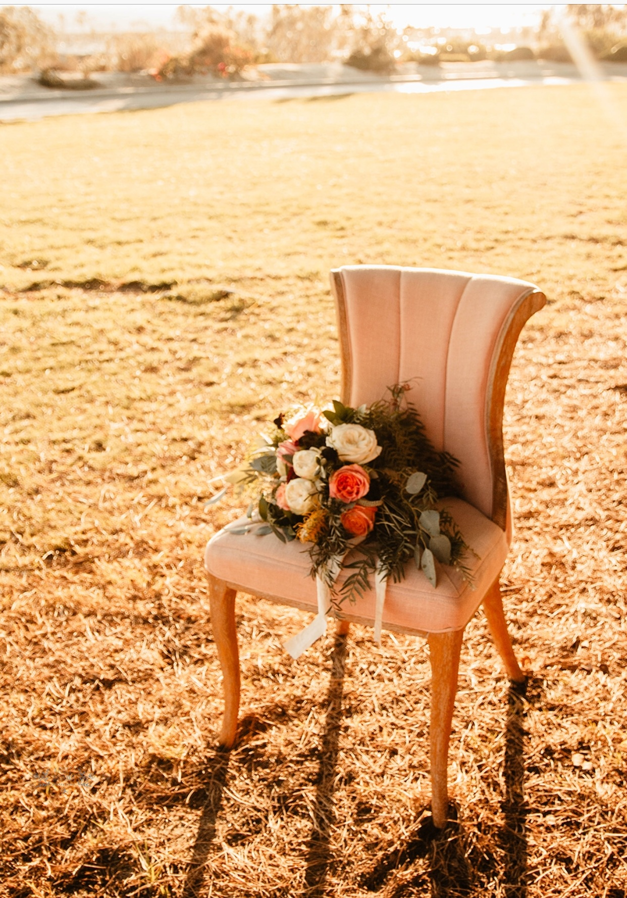 Pink Chair with Bouquet