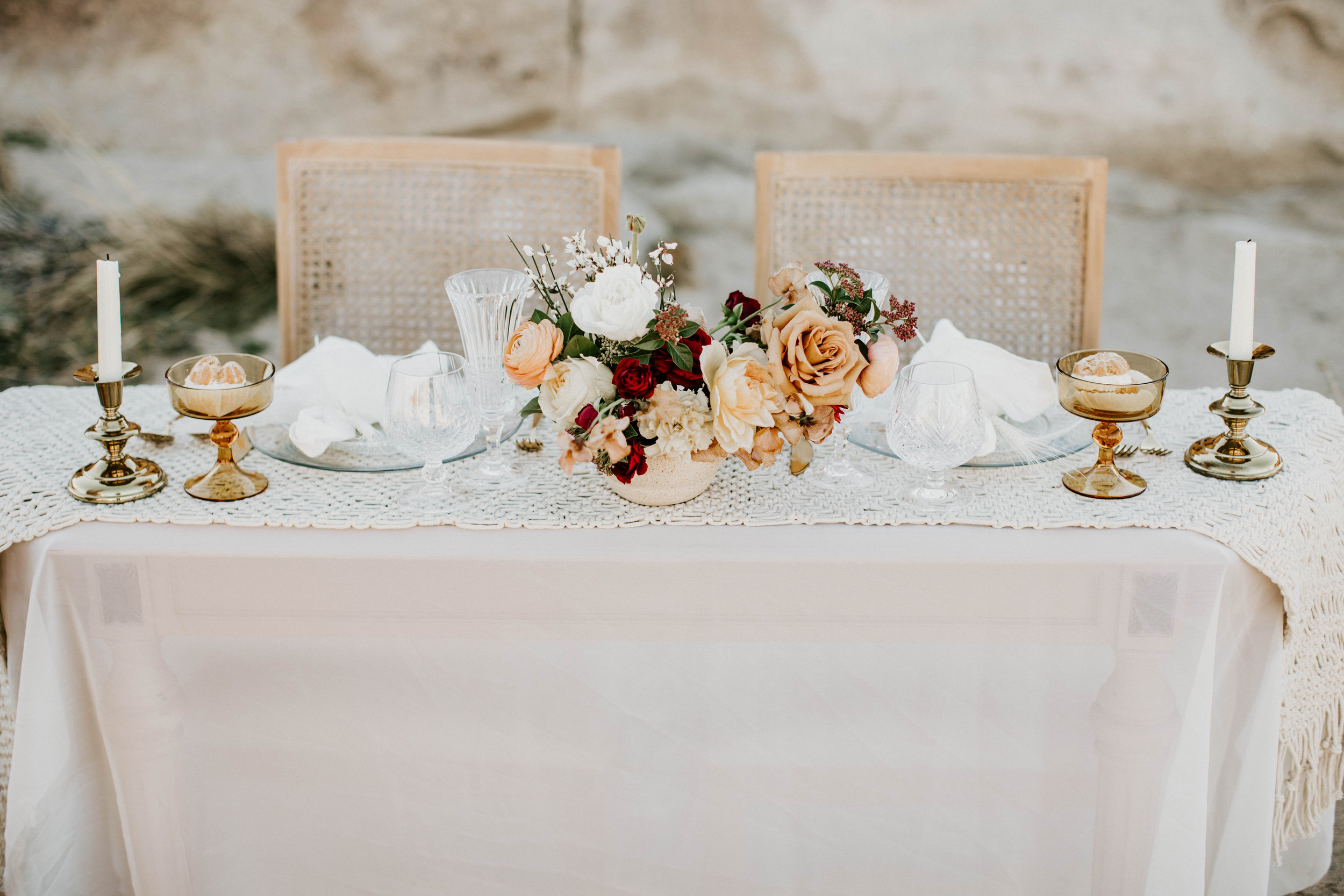 Sweetheart Table Package - This includes table settings for two: plates (2-3) glassware (2-3), utensils, napkins and 1-2 pieces of decor.Just tabletop: $75Tabletop and furniture (table and two chairs): $175