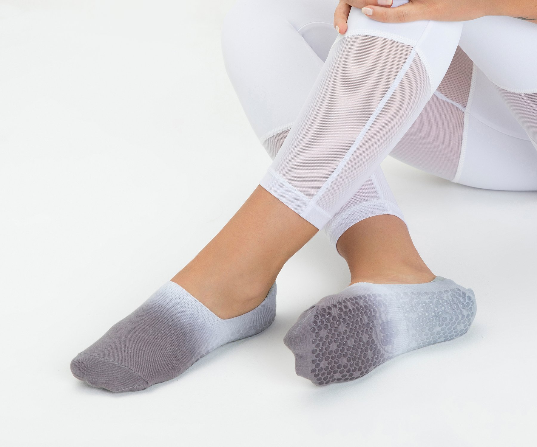 Barely There Footlet in Bondi Grey - Grip Socks by MoveActive