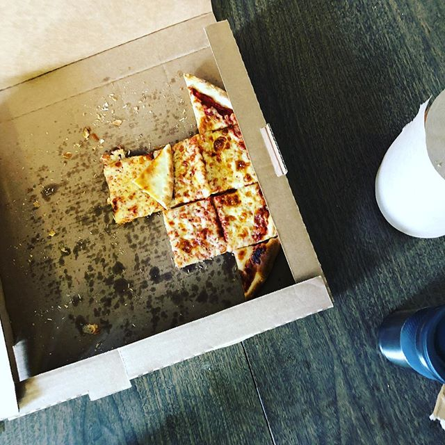 The final remnants of our giant pizza party lunch. We were celebrating Tony, one of our employees who finished his last cancer treatment this morning. He showed up every day throughout his treatment. #commited #culture #cncmachining #cnc #americanmanufacturing #employeesmatter