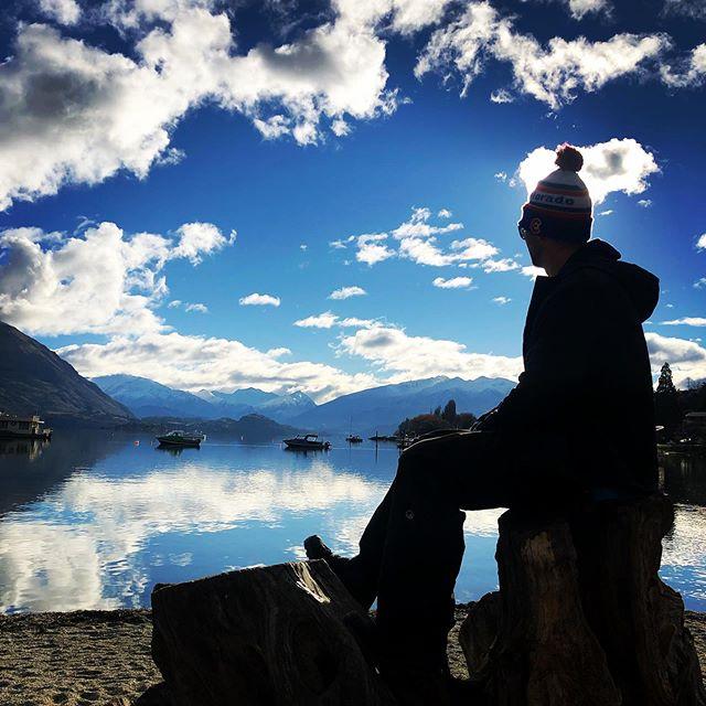 Pondering life - - - #ponderinglife #aussiebutchernewlynn #reubens #lastdayofholidays #wanaka #lakewanaka #mountains #snowboarding #winter #backtowork #nofilter