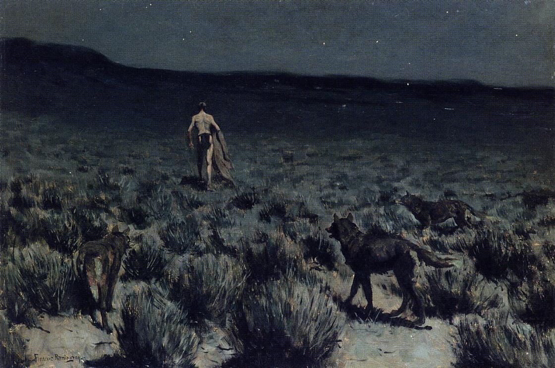- The Wolves Sniffed Along on the Trail but Came No Closer | Frederic Remington