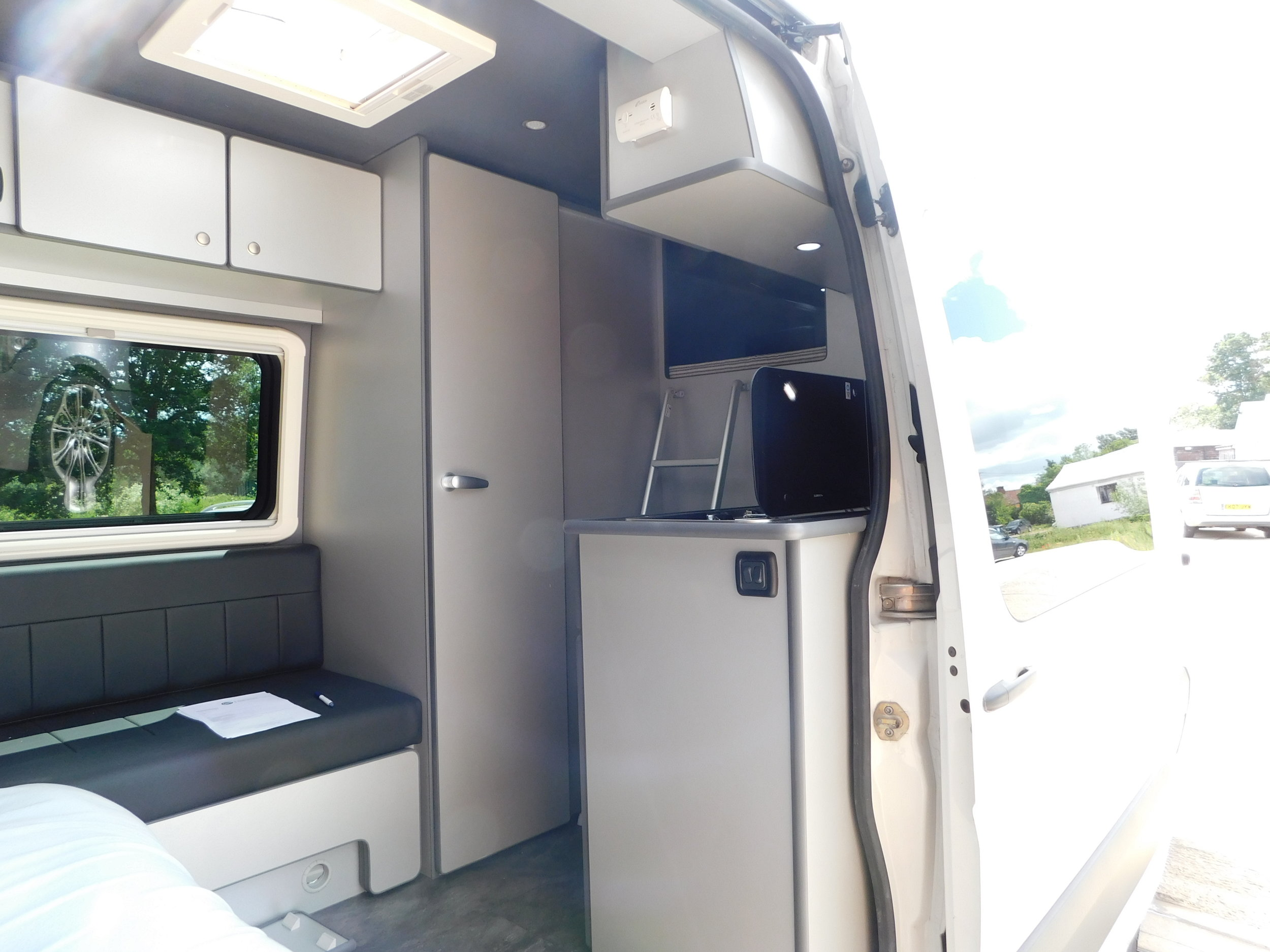 Wide view of the inside of a VW Crafter