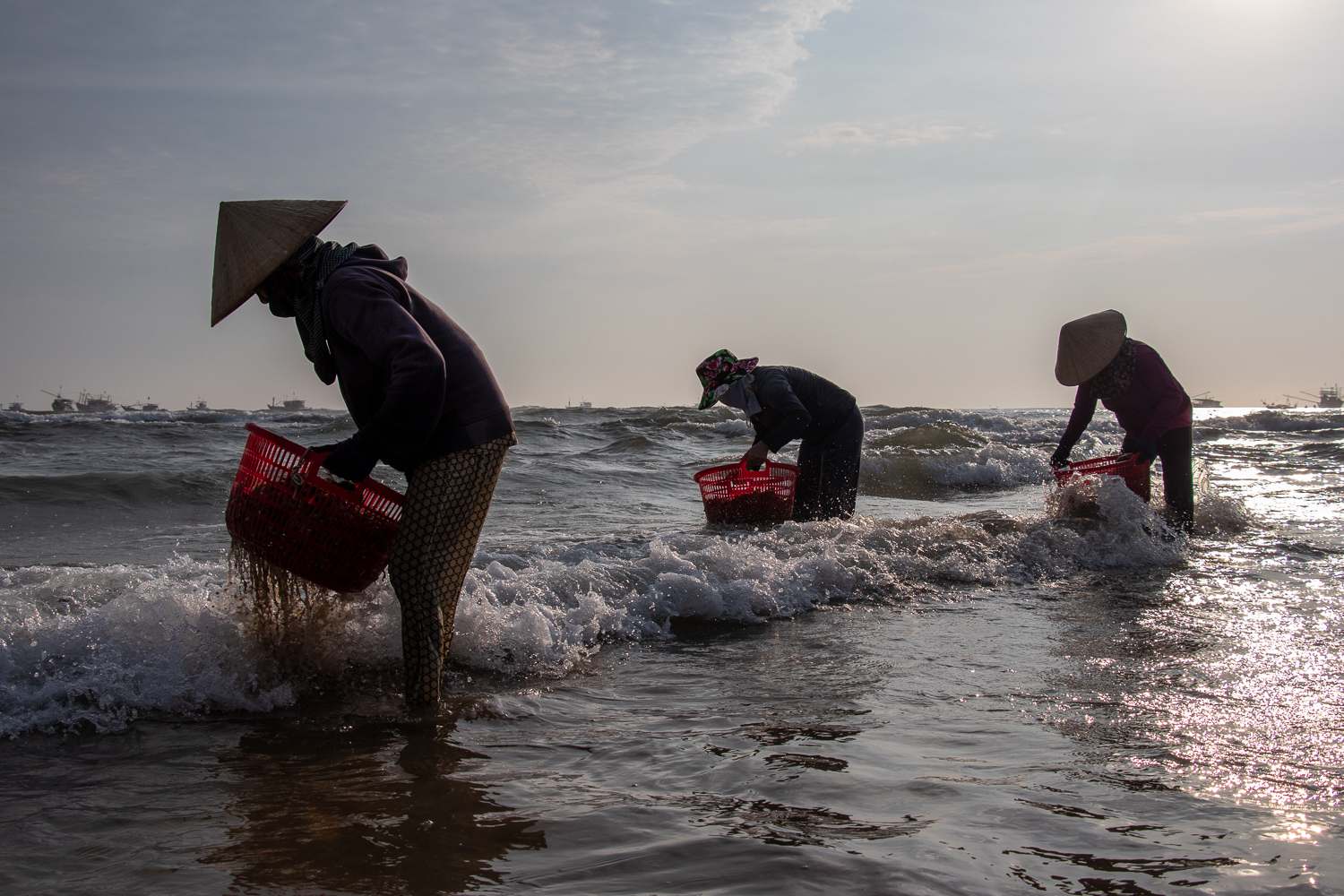 A photograph of Vietnamese ladies cleaning seafood on a beach in their signature hats.
