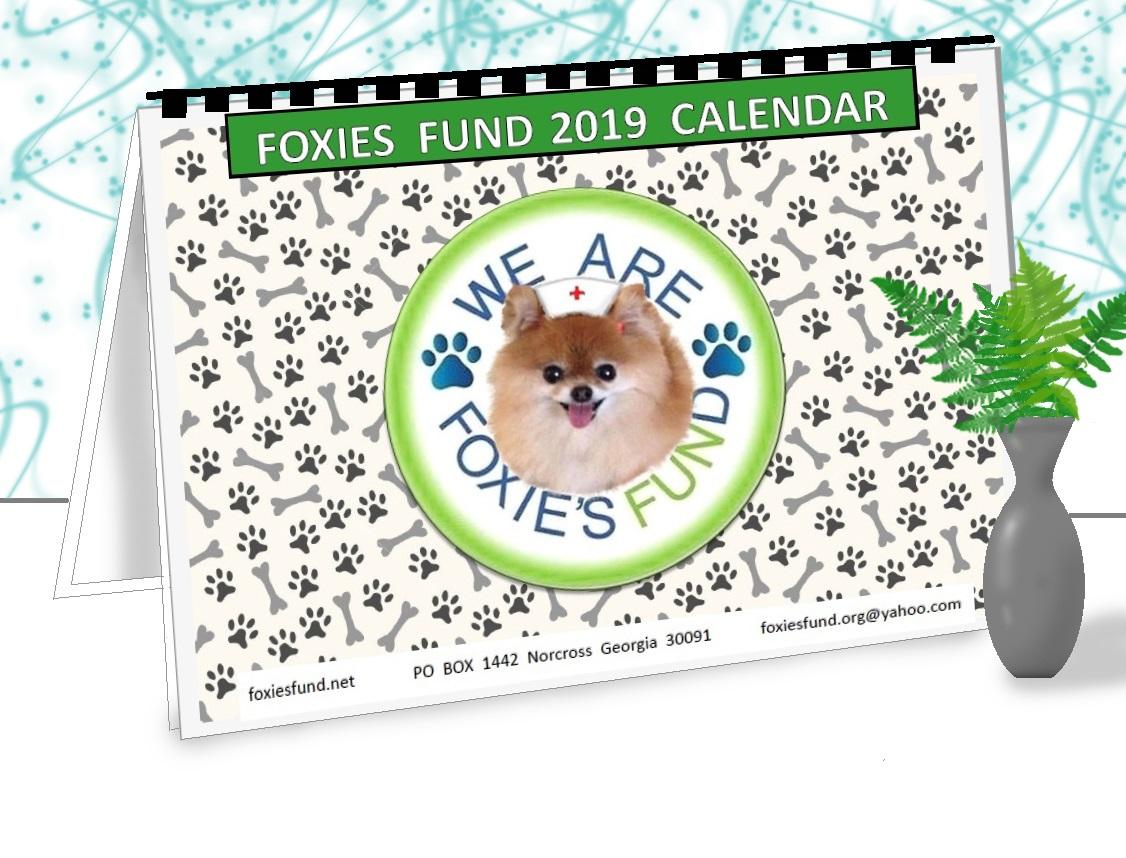 $5 per calendar - Foxies Fund Calendar $5.00 + $3.00 postage