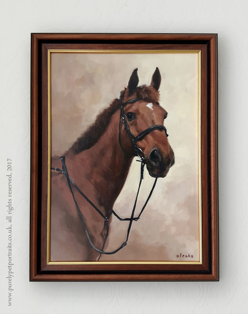 Painting of a horse framed