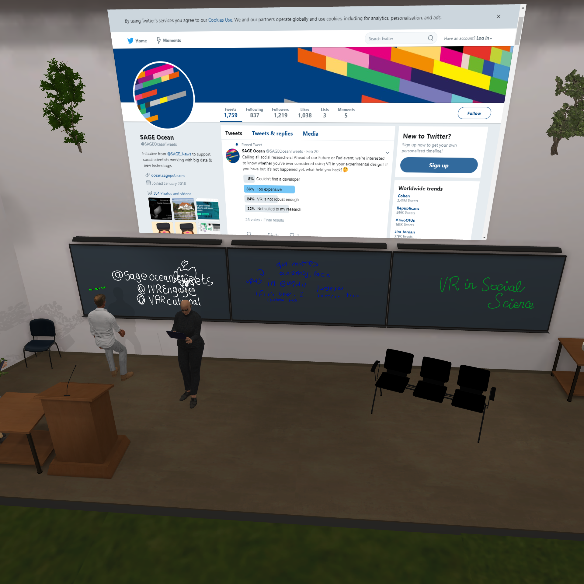Virtual screen featuring the SAGE Ocean twitter page