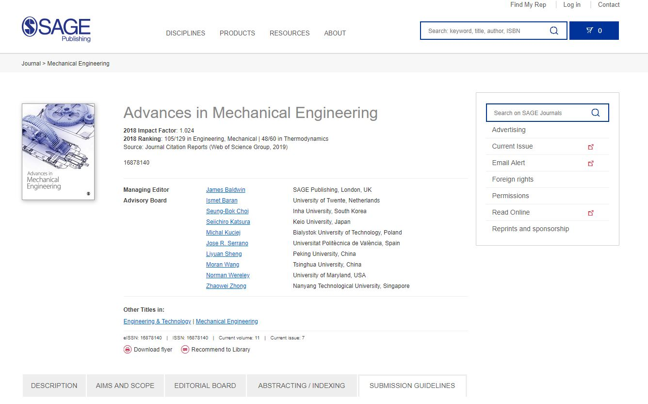 SAGE Journals  Mechanical Engineering