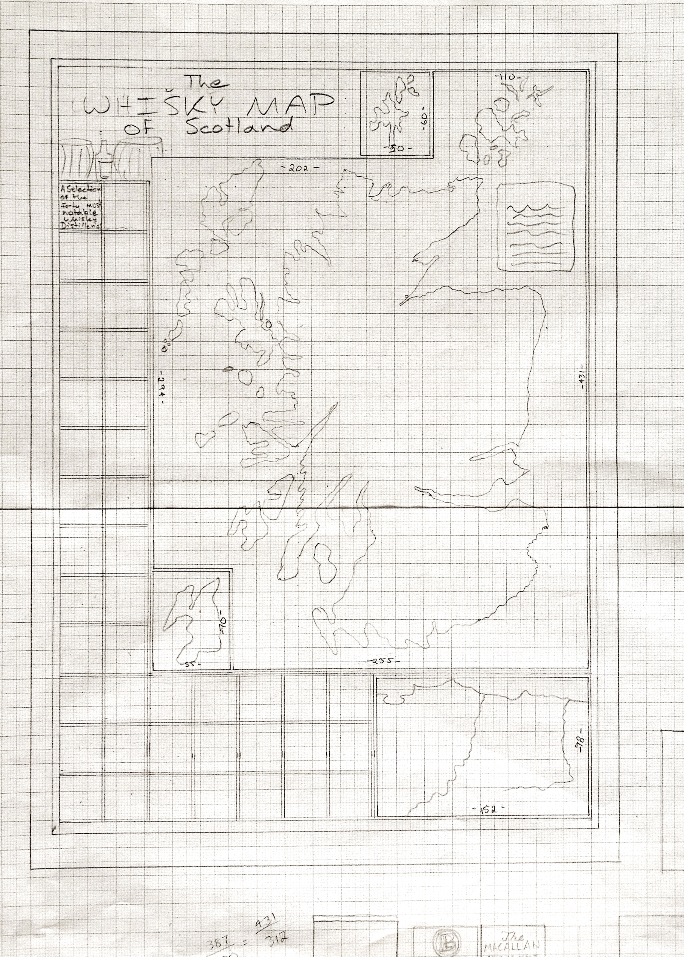 First sketch of the  Whisky Map of Scotland
