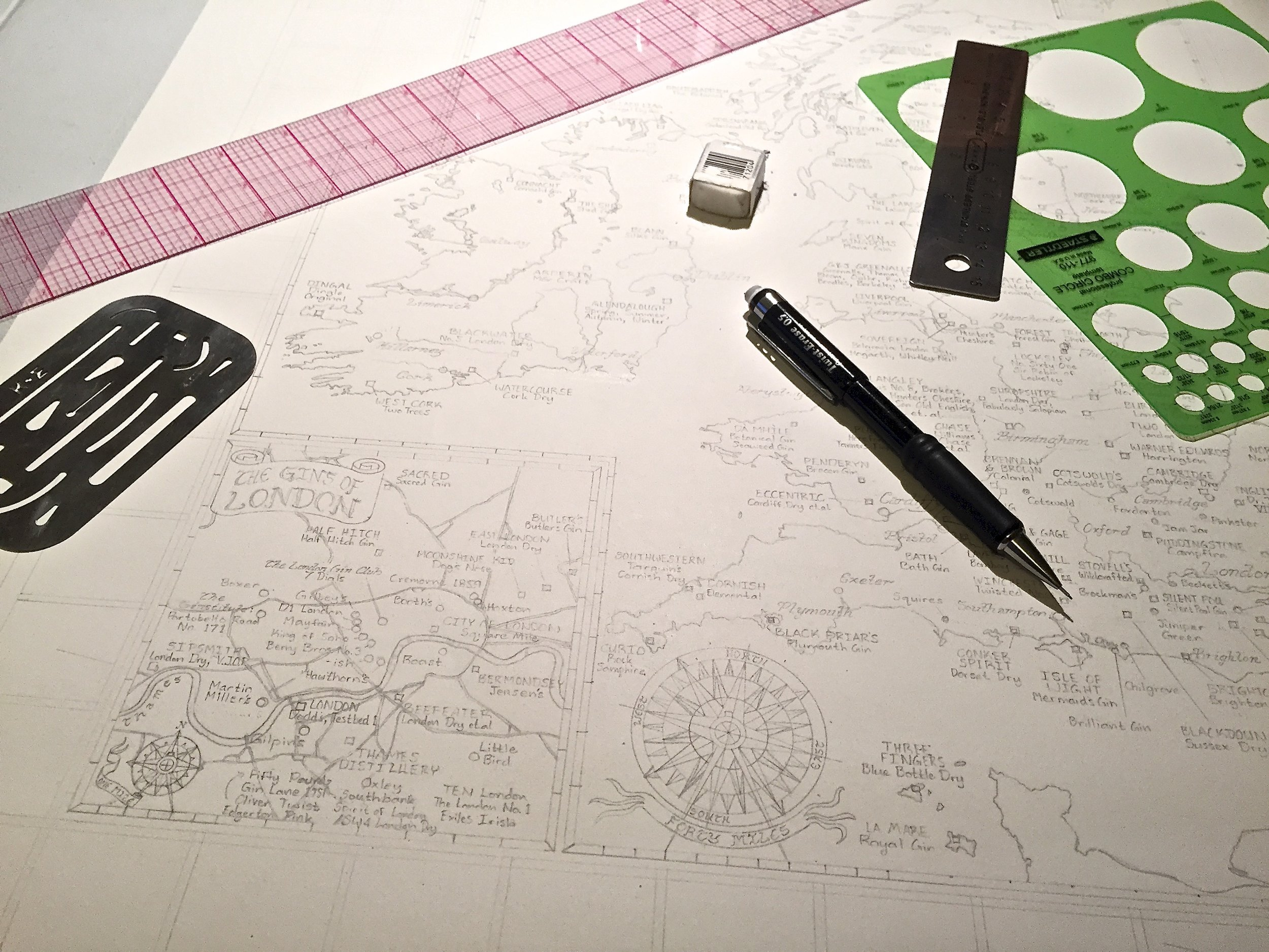 The  Gin Map  - drawing in pencil
