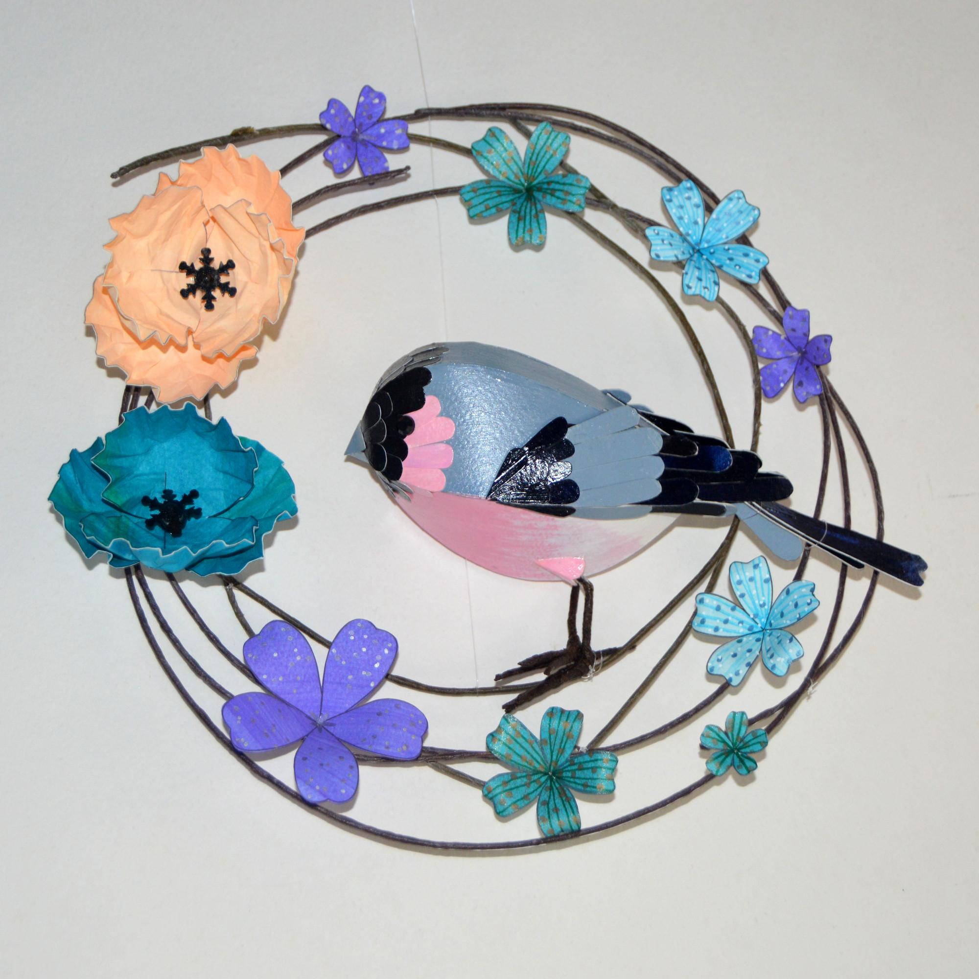 Stan the bullfinch on his floral hoop