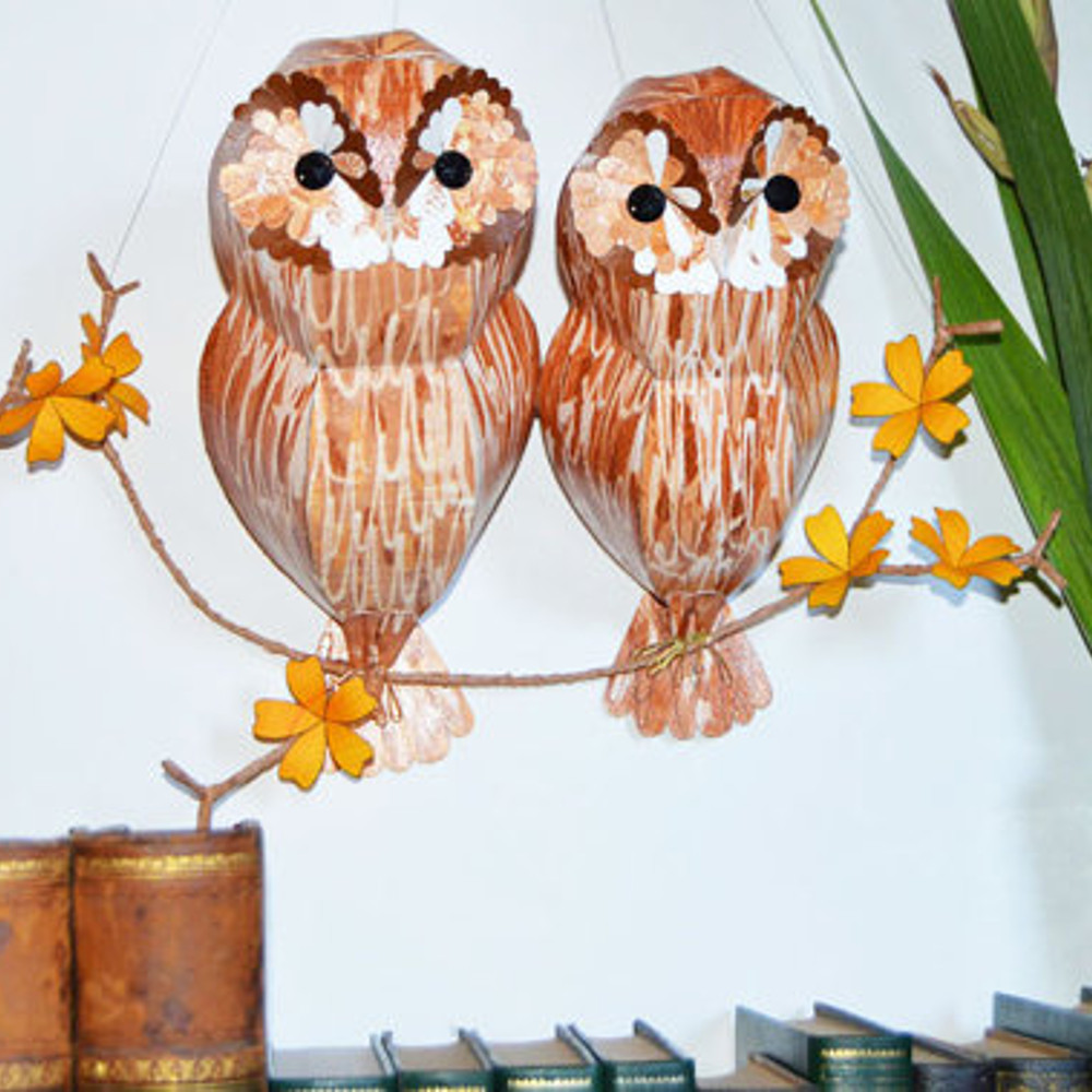 Tawny duo on a branch with orange flowers