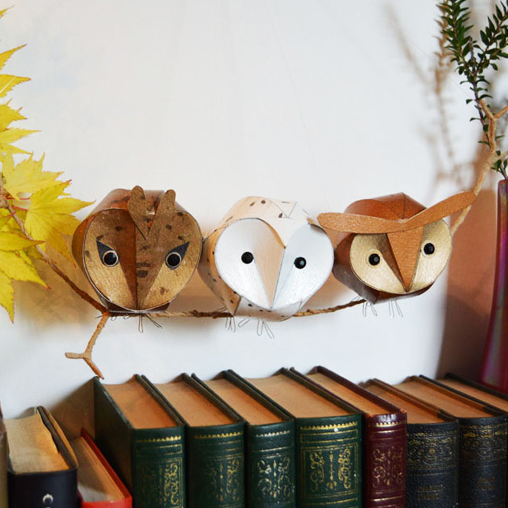 Baby owl trio wall sculpture: long eared, barn and hoot