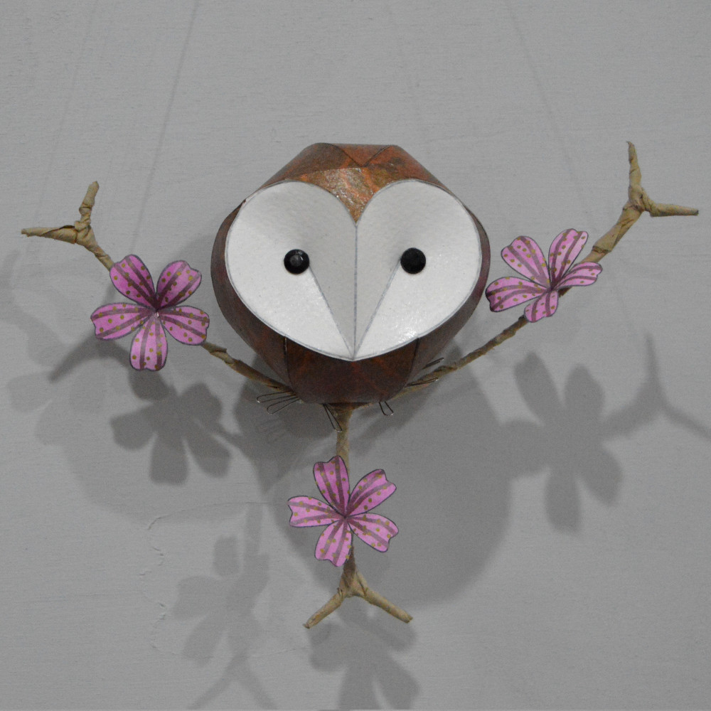 Branch size: 22cm.  Owlet on a branch £38  Owlet on a floral branch £48