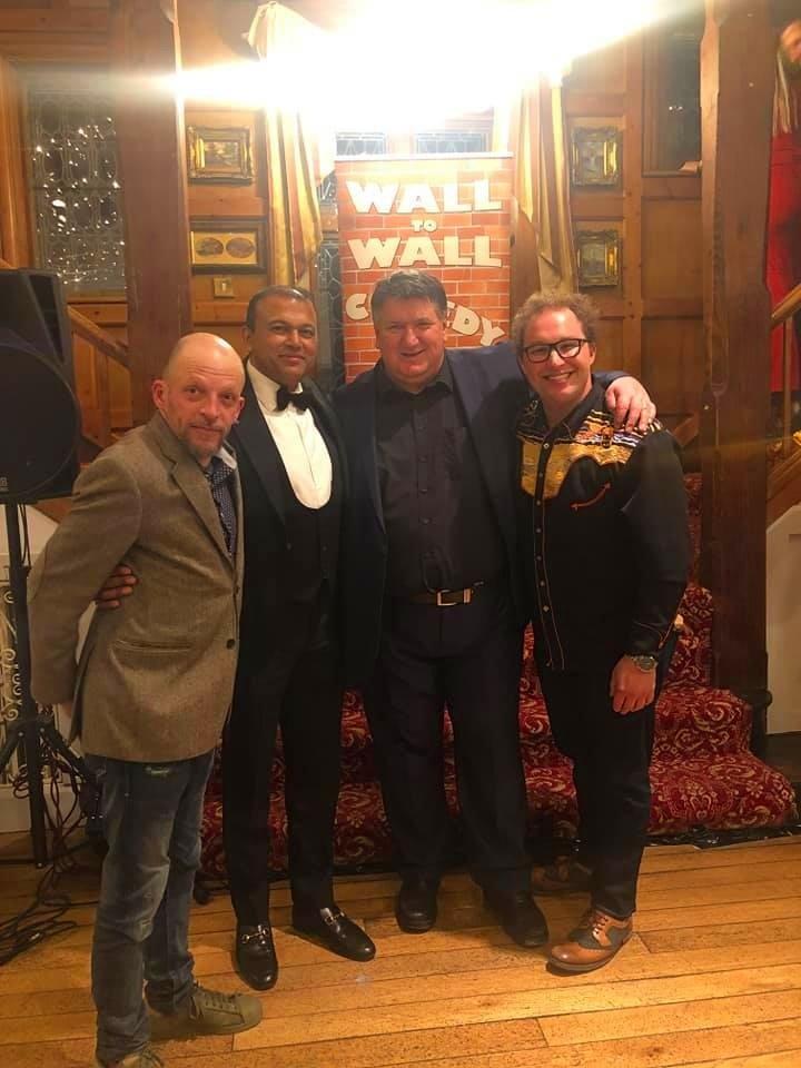 Bob Mills, Joseph Wilson and Gareth Berliner at 50th Birthday Black Tie Event, Surrey, February 2019