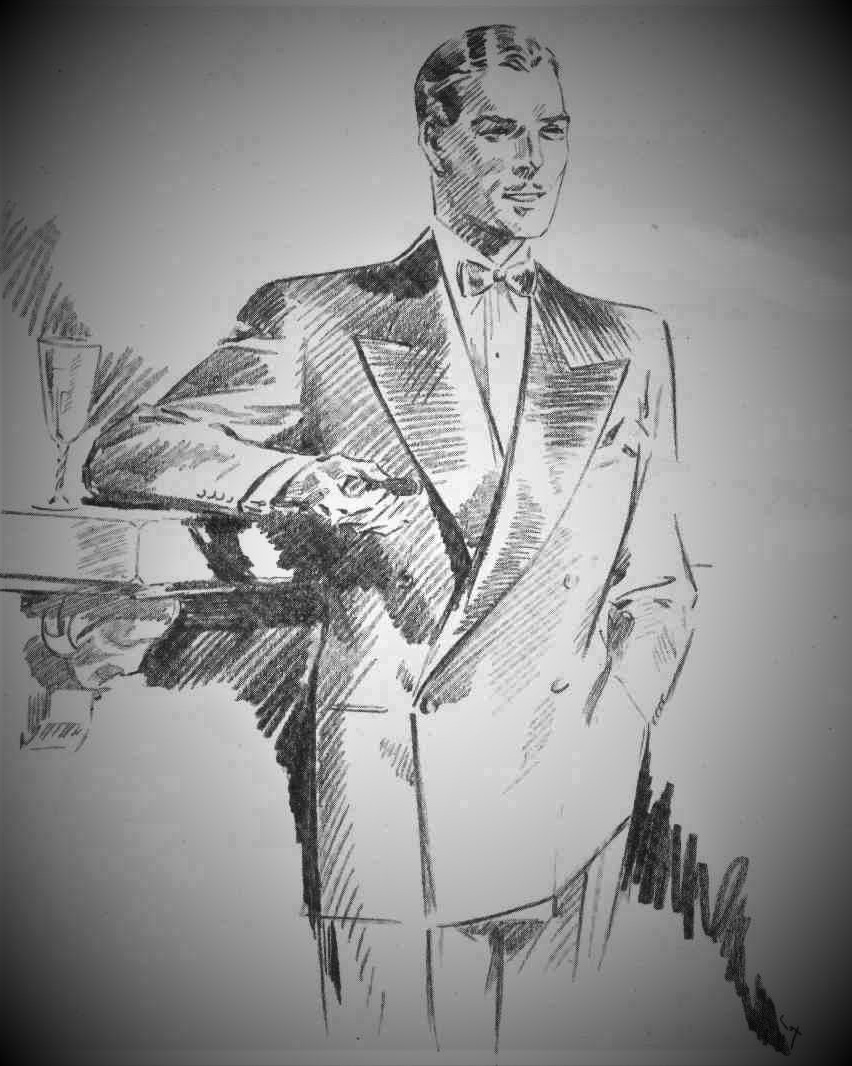 02 — - Hector felt that men's fashion was ripe for change after the War. Men, and more importantly, their wives and girlfriends, had become accustomed to the athletic, more masculine lines of service uniform. They did not want to return to the narrow, cramping style of the pre-1914 era.F. Whitby Cox sketch of a Hector Powe double-breasted dinner jacket.