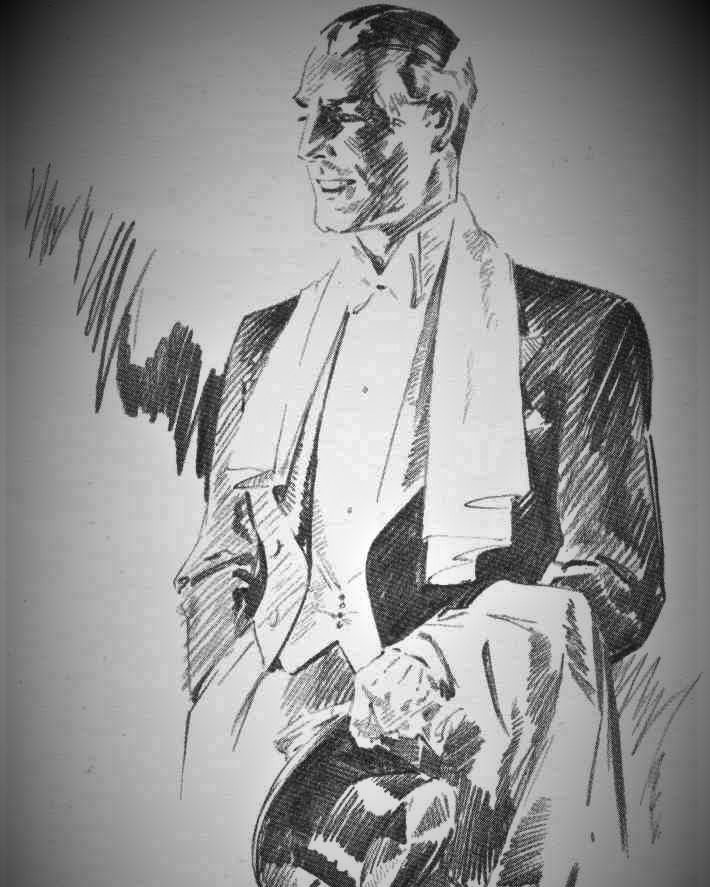 03 — - So Hector endeavoured to provide gentlemen with a more stylish silhouette. This was known as the HP Cut, a pioneering form of 'New Tailoring'.F. Whitby Cox sketch of a Hector Powe evening tailcoat