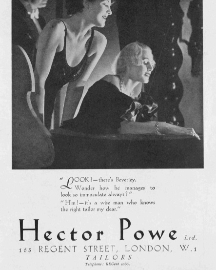 """05 — - Obsessed with the notion of elegance, the three Powe brothers successfully captured that most enigmatic characteristic of London luxury, """"the West End touch"""".Hector Powe A/W 1934 advertising campaign in Tatler"""