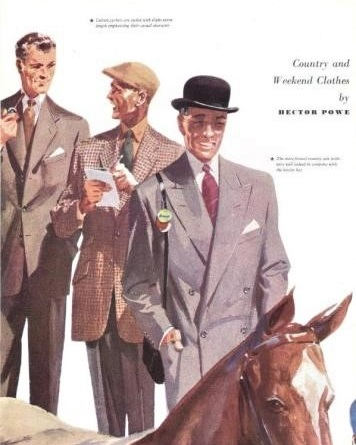 11 — - In this new era, Hector Powe led the way in creating elegant and exquisite outfits for the ever-changing social landscape of the 50s.Hector Powe Town and Country Suits, 1952