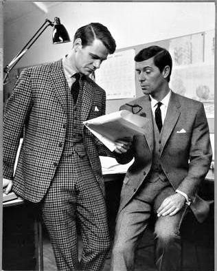 """15 — - """"No guns. No barricades. Just a revolutionary collection of entirely new styles designed by Hector Powe for the man who thinks young. Closer cut, narrower waists, higher jacket buttons and incomparable craftmanship"""" - Lungley PoweThe Glen Urquhart suit (L) and the Gun Club suit (R), made from Scottish worsted. 1964"""
