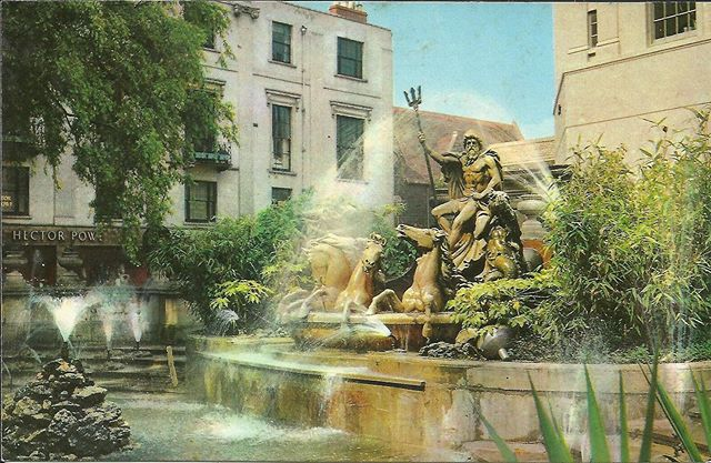 Potentially the hottest day on record in the UK today ☀️Some summer nostalgia here with a lovely shot from the 1970's of The Neptune Fountain in Cheltenham next to our Promenade store.  #hectorpowe #heritage #archive #netpunefountain #cheltenham #gloucestershire #madeinengland #summer #heatwave #nostalgia