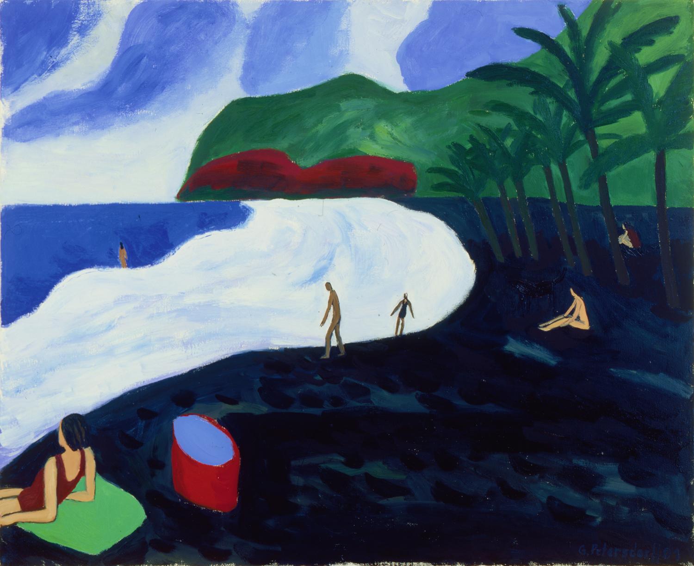 Schwarzer Strand auf Guadeloupe