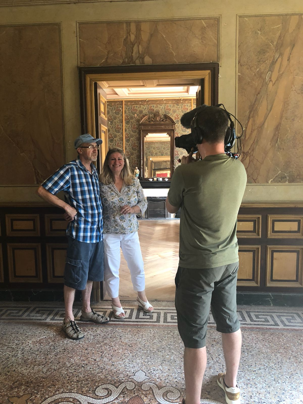 - Jayne and Steve Simmons filming for Escape to the Chateau DIY, Channel 4