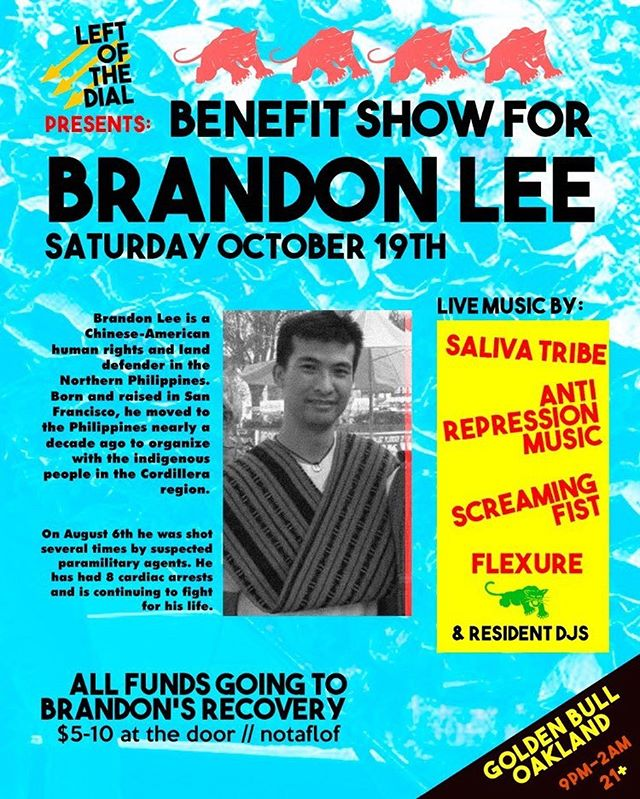 Next ARM performance is a fundraising event for comrade Brandon Lee presented by Left Of The Dial. Turn up for the people! Golden Bull October 19.