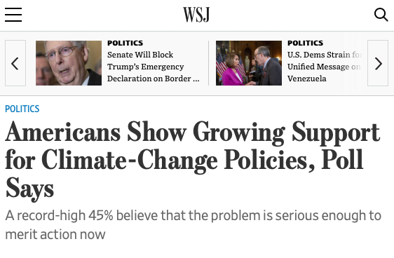 A December Wall Street Journal/NBC News national poll showed that 66% of Americans believe that action is needed to address climate change, with 45% calling for immediate action. -