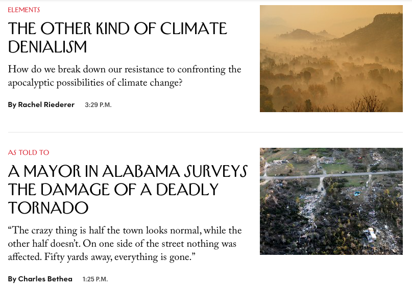 "the New Yorker |Climate change coverage - …our response to climate change … consists, largely, of steps yet to be taken, technologies yet to be developed, and laws yet to be passed. The gulf between what we need to do and what we are actually doing widened further this past week with the newest report from the Intergovernmental Panel on Climate Change. It tells, Carolyn Kormann writes, a ""nightmarish tale,"" showing that the effects of climate change will likely arrive sooner, and be worse, than expected."" David Remnick, Editor in Chief, The New Yorker, October 14, 2018."