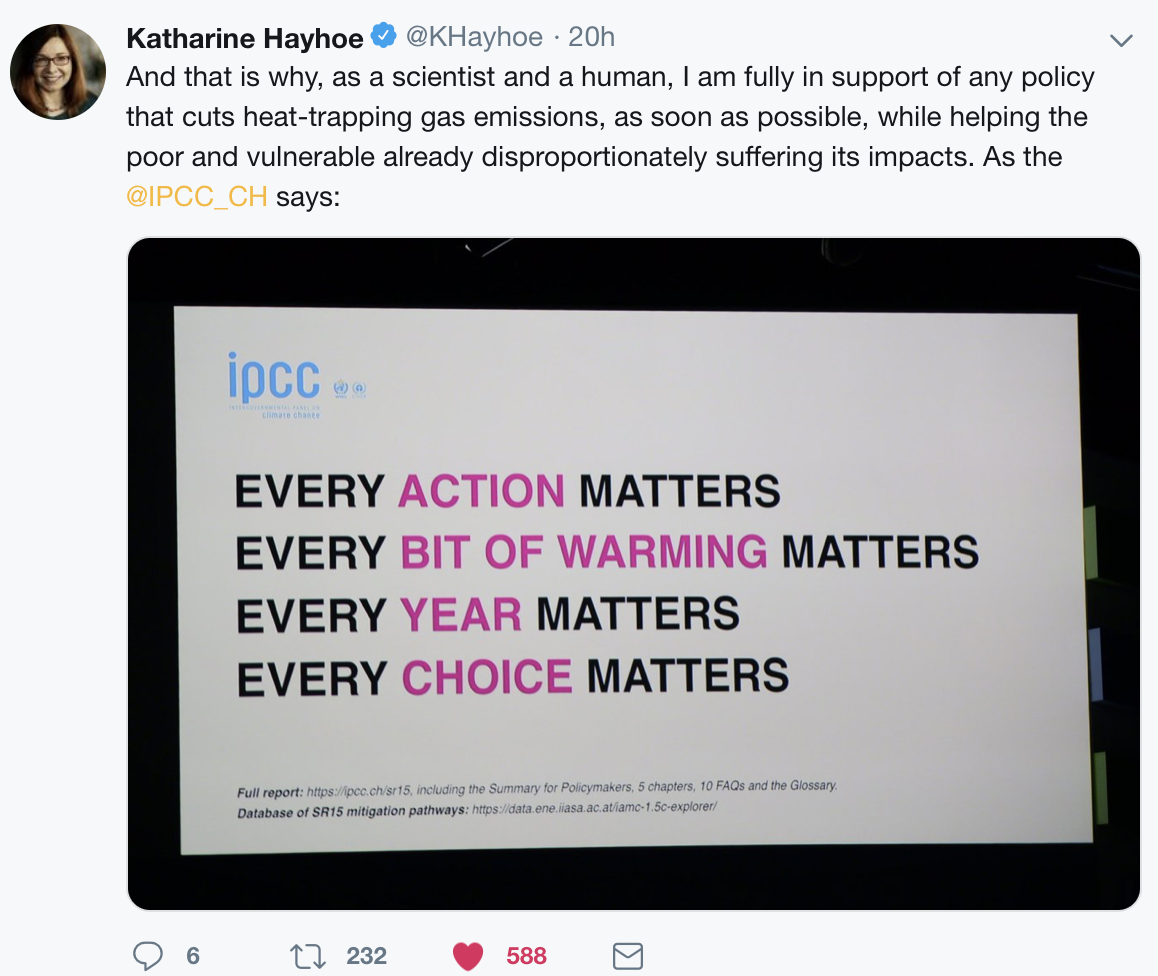 Tweet courtesy Katharine Hayhoe, Ph.D., atmospheric scientist and climate communications expert; director of the  Climate Science Center  at Texas Tech University.  http://katharinehayhoe.com/wp2016/