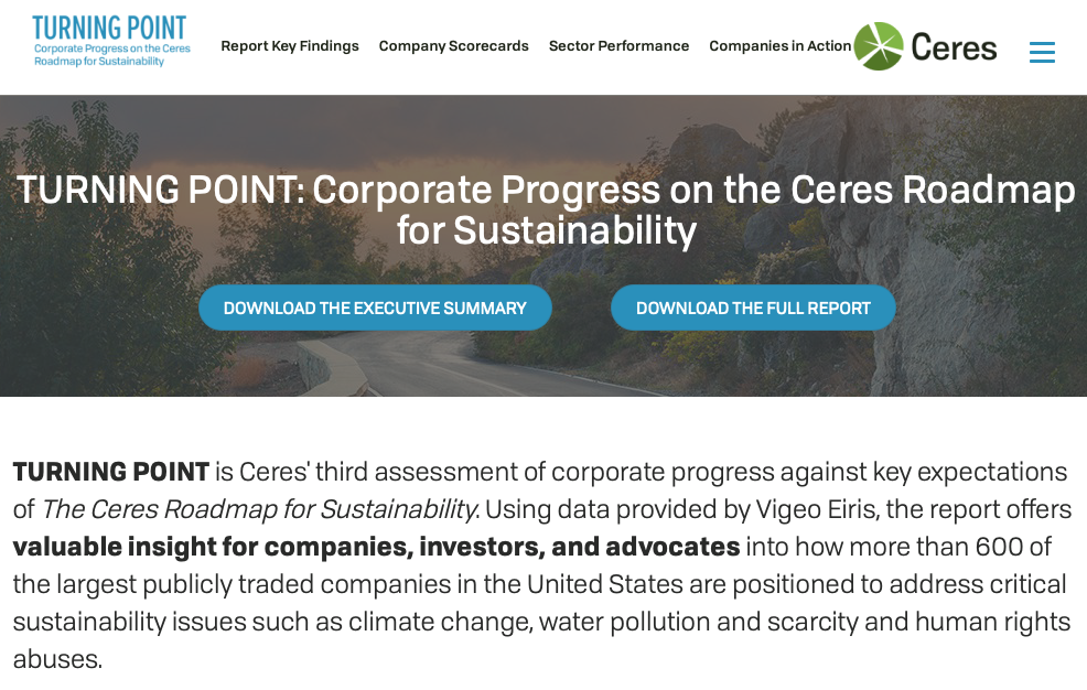 "ceres - Essential for people in business, investors, policy makers, and the rest of us who want to understand — and become active in — progress on global sustainability. ""Through powerful networks and advocacy, Ceres tackles the world's biggest sustainability challenges, including climate change, water scarcity and pollution, and human rights abuses."" Follow @ceresnews."