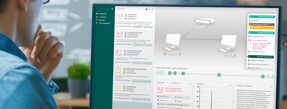 Senseon's Investigate view provides a simple method of investigating threats