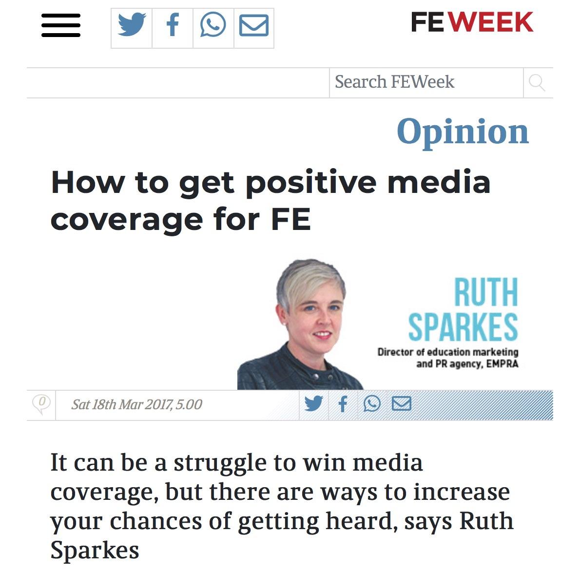 EMPRA's Ruth in FE Week