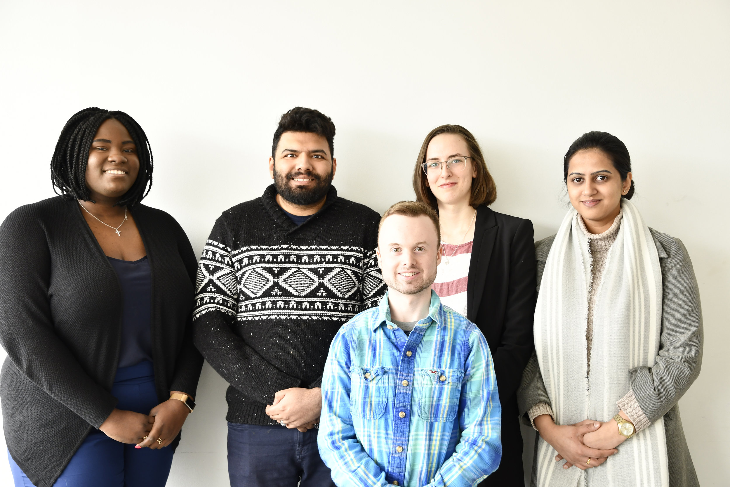 Pictured: Centennial College students Simi Ikotun, Mohammad Raza, Josh Casey, Arushu Malik and Mary Davidson partnered with CivicAction to survey millennials about the future of work.